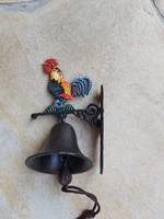 Öntöttvas kakasos  csengő kolomp, harang díszcsengő