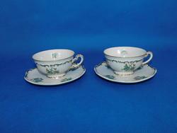 Zsolnay Pompadúr egyedi virág mintás teás csésze + alj pár
