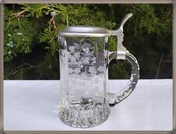 Ón fedeles mintás német üveg sörös korsó