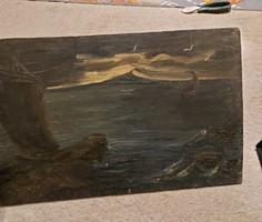 Őri J.jelzéssel, tenger, festmény, 34x53 cm, olaj, falap