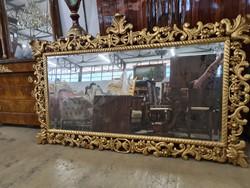 Áttört nagy méretű aranyozott florentin tükör