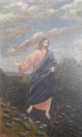 MAGVETŐ JÉZUS (olaj-karton 30x40,5) Biblia, vallásos, életkép, jelenet