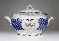1F046 Régi hibátlan Marie Antoinette mintás Zsolnay porcelán levesestál