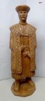Csikós baltával. Magyaros népi retro terrakotta műalkotás, egyedi ritkaság.