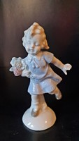 Régi, német, Grafenthal, porcelán kislány figura, nipp..