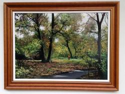 FÉLÁRON Hornyik Zoltán Séta a parkban KERETEZVE 64x84cm olajfestmény