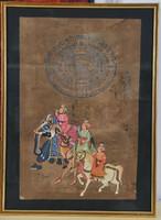 Vintage Indiai kormány bélyegző, kézi festéssel