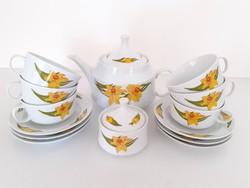 Retro Alföldi porcelán sárga virágos teás készlet nárciszos csésze kiöntő cukortartó 14 db