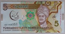 Türkmenisztán 5 Manat 2017 UNC