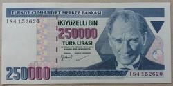 Törökország 250000 lira 1998 Unc