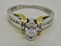 Különleges art deco platina gyűrű arany díszekkel és 0,53ct gyémánt kövekkel