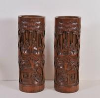 Kínai faragott bambusz vázák