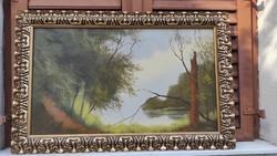 Solymos Tamàs ,kortàrs Festmény tàjkép modern alkotás!Szunyogsziget műve,szép aranyozott keretben!