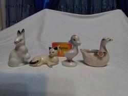 Négy darab porcelán állat figura, nipp - együtt - nyuszi, cica, kacsa, hattyú