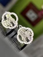Pompás ezüst fülbevaló pár cirkónia kövekkel