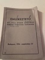 KOR DOKUMENTUM - Emlékeztető az 1954.évben avatott fiatal tisztek számára - könyv,füzet,nyomtatvány