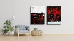 Vörös Edit: Jackson Pollock Style Red White Abstract 2db 120x90cm