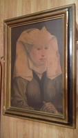 Rogier van der Weyden Női arckép nyomat , fa kerettel , bécsi műkereskedésből származik. Jó állapotú