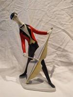 Zsolnay Art Deco Török János csellós porcelán figura nipp szobor