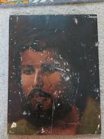 Józsa (?) 1980 szignós portré festmény, olaj, újságpapír ragadt rá...