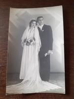 Régi esküvői fotó 1952 menyasszony vőlegény fénykép