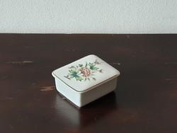 Hollóházi porcelán bonbonier zöld virágos mintával ékszertartó doboz aranyozott