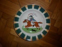 Antik fajansz lovas csikós fali tányér