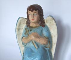 Patinás antik gipsz angyal figura, szobor-betlehem építéshez vagy karácsonyi dekorációnak