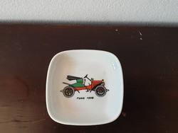 Ritka Limoges porcelán tálka gyűrű ekszer tartó tálka art deco old timer autó mintával