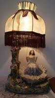 Vintage Onelia / Alba Iulia / porcelán, csipkés, nő alakos éjjeli lámpa