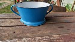 Kék színű Csepel zománcos szűrő kétfülű