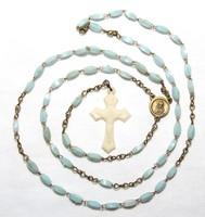 Antik Rózsafüzér Csont Utánzatú Kereszttel,Krisztussal Hátulján Madonna a Gyermekével kék Szemekből