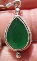 925 ezüst fülbevaló zöld ónixxal