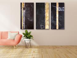 Vörös Edit: 3 darabból álló Modern Abstract festmény 3 db 120x60cm
