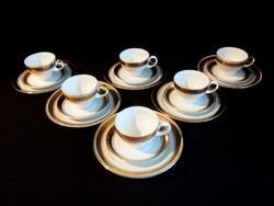 6 személyes 18 db-os  Kahla reggeliző dúsan aranyozott porcelán teás v. kávés készlet
