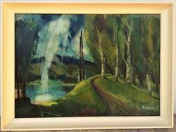 Kovács Sándor (1914 - ) Védgát c Képcsarnokos olajfestménye Eredeti Garanciával !
