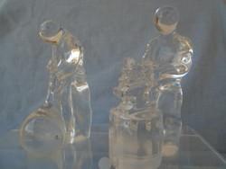 2 db svéd kosta tömör kristály üvegből  készült mester ember az egyik kovács mester a M... Üvegfúvó