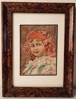 Kislány portré, 1930, akvarell, grafika, festmény, keretben