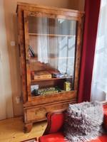 Antik biedermeier üveges szekrény tálaló vitrin