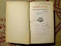 József Etelka autográf bejegyzése, József Attila összes versei és műfordításai kőnyvben.Cserépfalvi