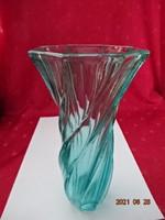 Zöld üvegváza, csavart mintával, magassága 20,5 cm.