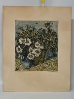 Scultéty Éva Virágcsendélet grafika (1801)