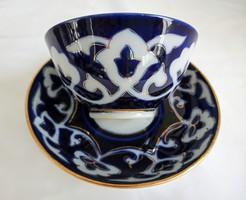 Kézzel festett aranyozott kobaldkék teás csésze
