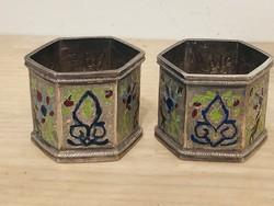 Ezüst  antik zománcozott Perzsa szalvétagyűrű pár
