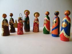 Vintage kézzel festett, jelzett betlehemi figurák 8 db