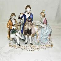 Három alakos Sitzendorf porcelán