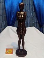 Képcsarnokos zsűrizett bronz szobor - Záhorcsik: Szégyenlős - 39 cm