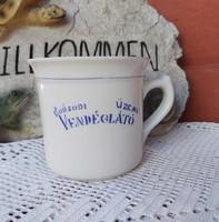 Hollóházi ritka Borsodi Üzemi Vendéglátó  csupor, aludtejes, tejfölös csupor porcelán, nosztalgia