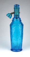 1B857 Antik hibátlan gyűjtői német patikai kék szódásüveg 29 cm