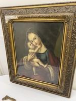 Gyönyörű Antik Szentkép Olaj Festmény !